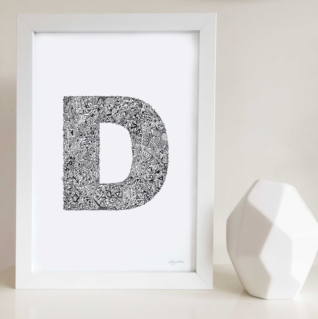 Geometric Letter D Wall Art Print