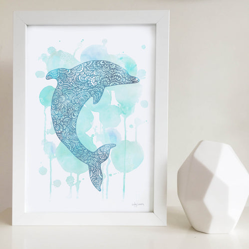 Dolphin Blue Watercolour Art Print