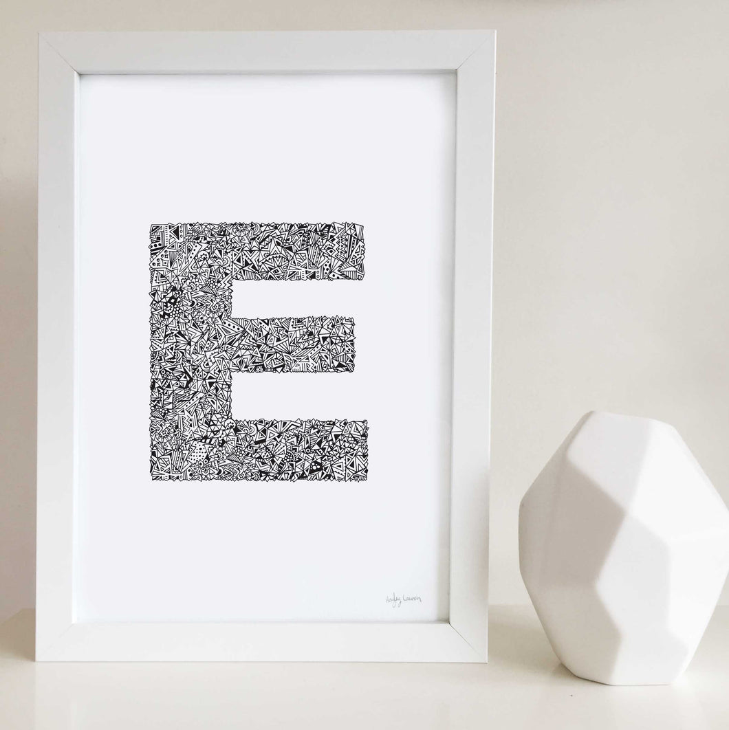 Geometric letter E personalised artwork by Hayley Lauren Design