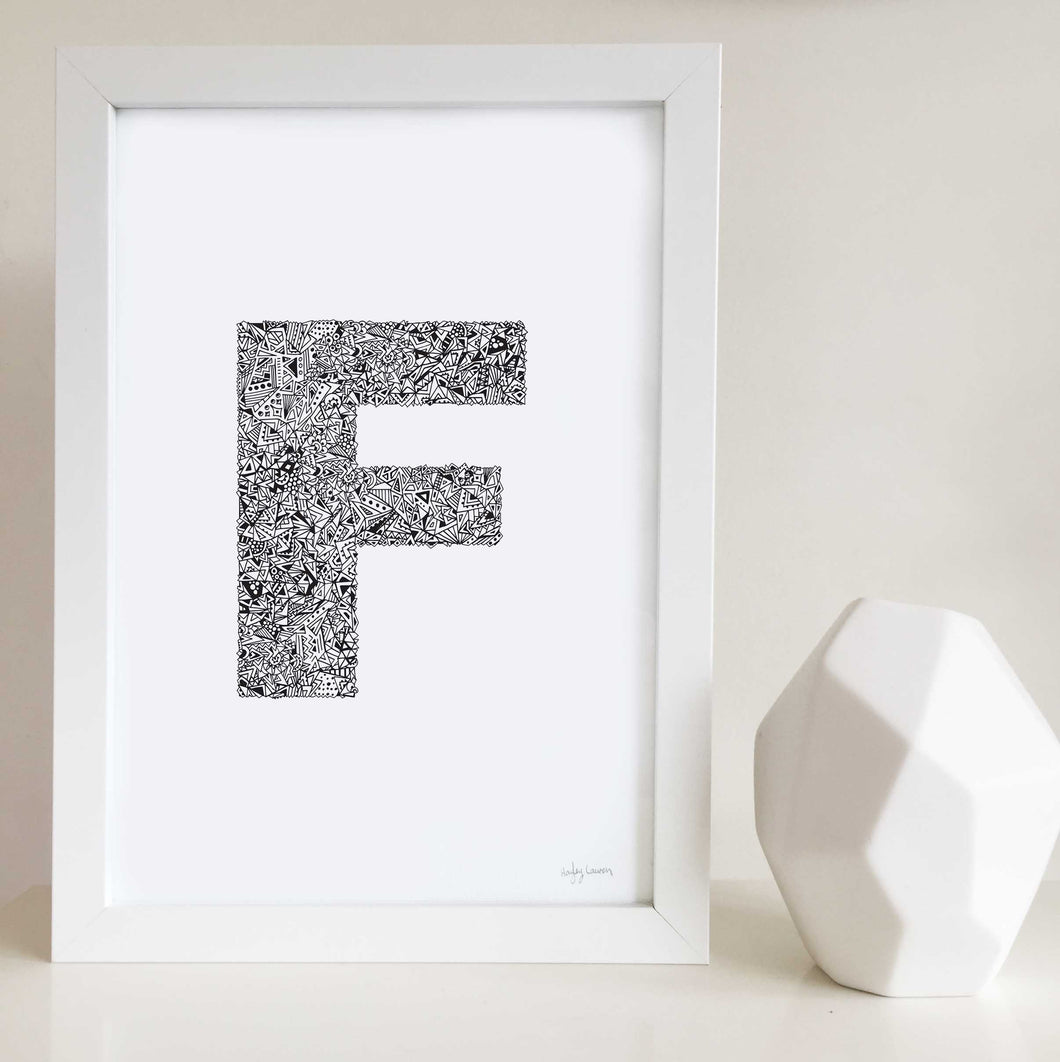Letter F wall art print personalised by Hayley Lauren