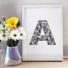 Letter A in floral perfect for nursery or kids room by hayley lauren design free shipping australia wide