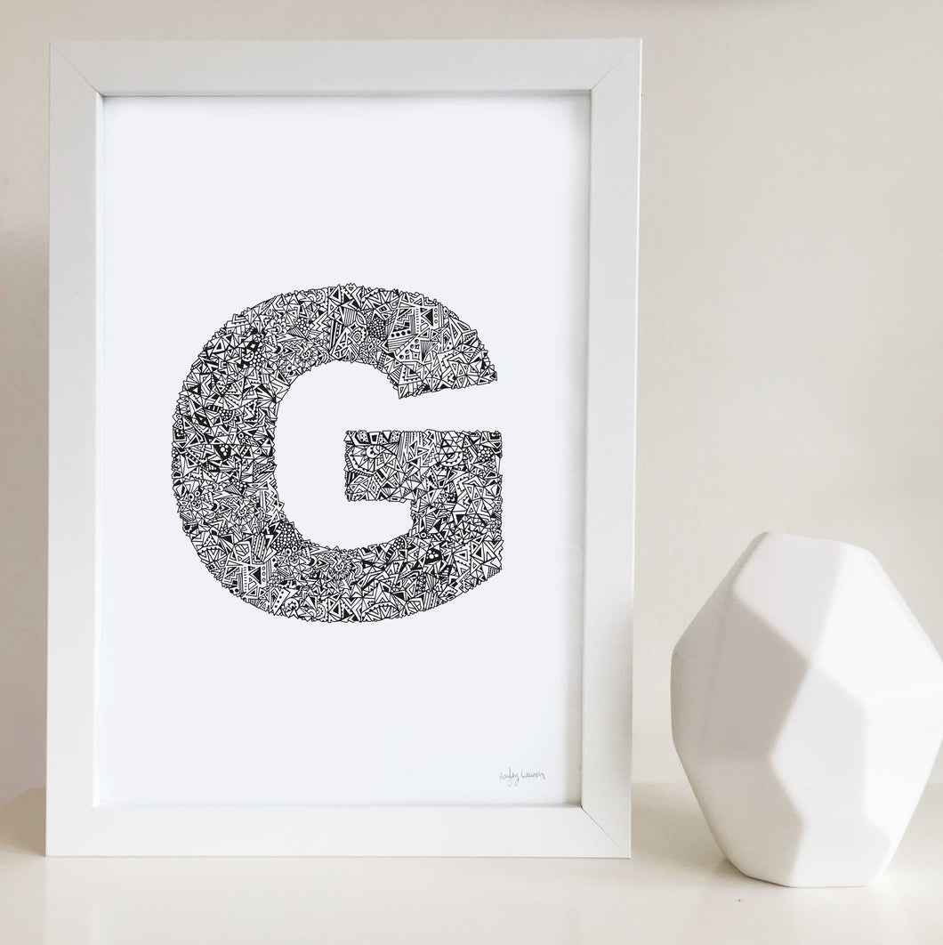 letter G artwork for nursery or kids bedroom by Hayley Lauren Design