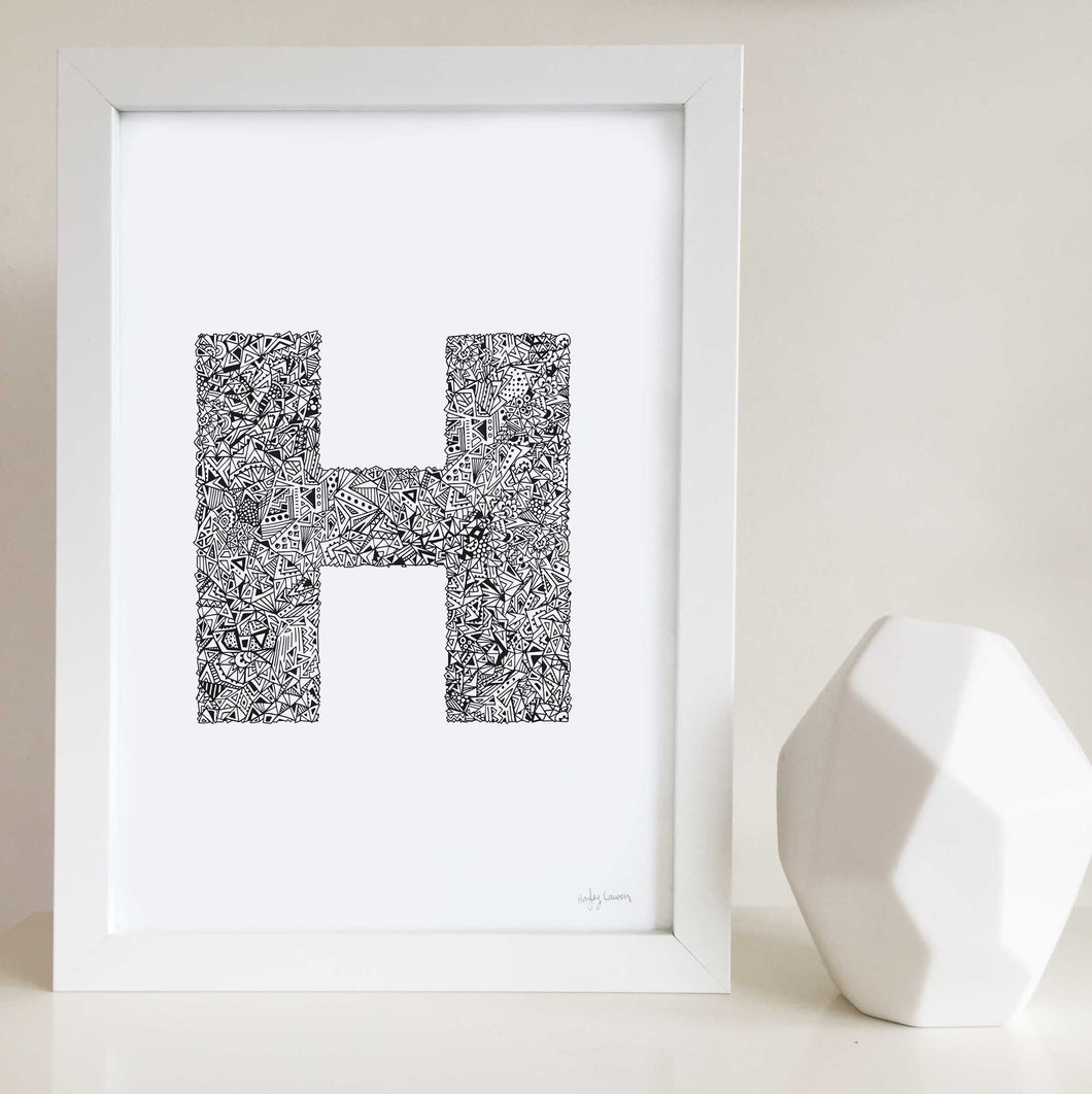 Letter h artwork for nursery or kids bedroom illustrated by Hayley Lauren Design