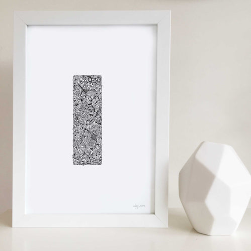 letter I artwork for nursery or kids bedroom drawn by Hayley Lauren Design
