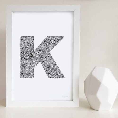 Letter K Wall art print for nursery or kids bedrooms