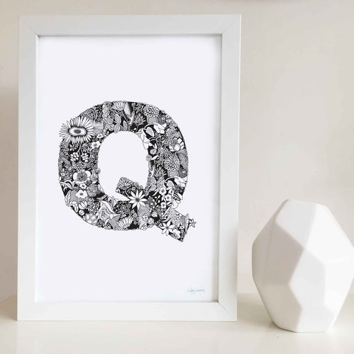 The floral letter 'Q' artwork was illustrated by Hayley Lauren in Melbourne, Australia. It is the perfect artwork to personalise a nursery or kids bedroom.