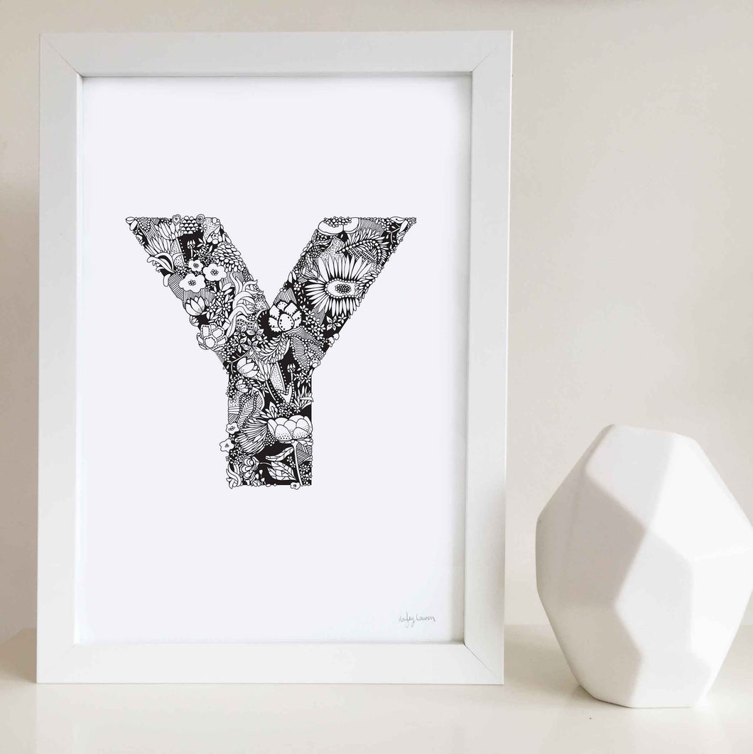 The floral letter 'Y' artwork was illustrated by Hayley Lauren in Melbourne, Australia. It is the perfect artwork to personalise a nursery or kids bedroom.
