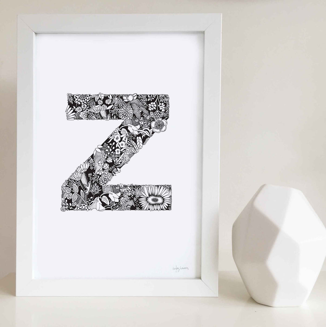 The floral letter 'Z' artwork was illustrated by Hayley Lauren in Melbourne, Australia. It is the perfect artwork to personalise a nursery or kids bedroom.