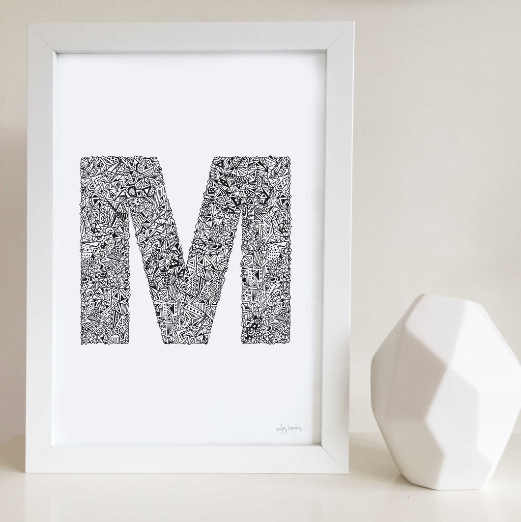 letter m artwork for kids bedrooms and nurseries drawn by Hayley Lauren Design