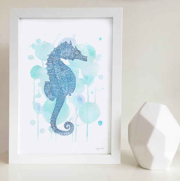 seahorse blue water colour zentangle illustration unisex artwork for nursery or kids bedroom australia