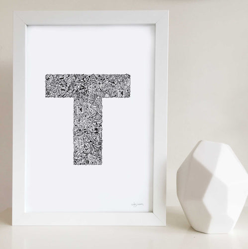 Letter T Wall Art print for nursery or kids bedrooms
