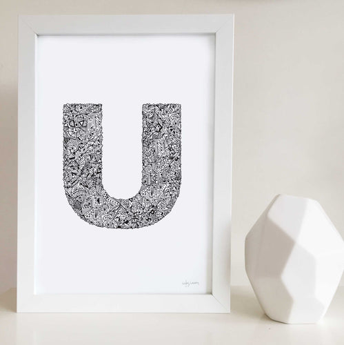 letter U artwork illustrated by Hayley Lauren Design for nurseries or kids bedrooms