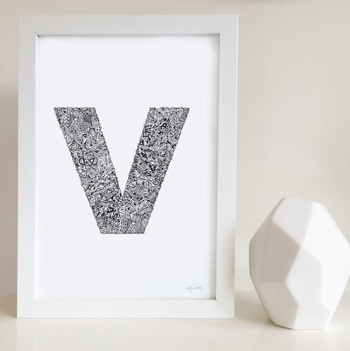 Letter V Wall Art Print illustrated by Hayley Lauren Design for nurseries or kids bedrooms