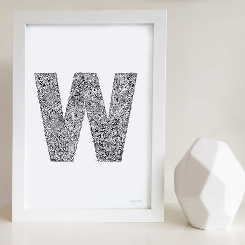 Letter W Wall art print illustrated by Hayley Lauren Design