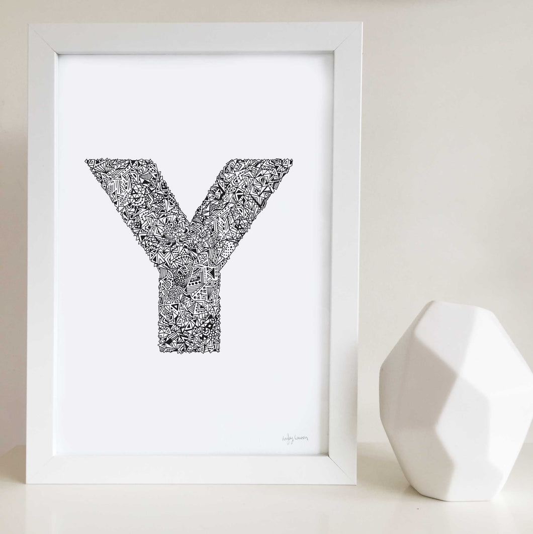 Geometric Letter Y Wall Art Print