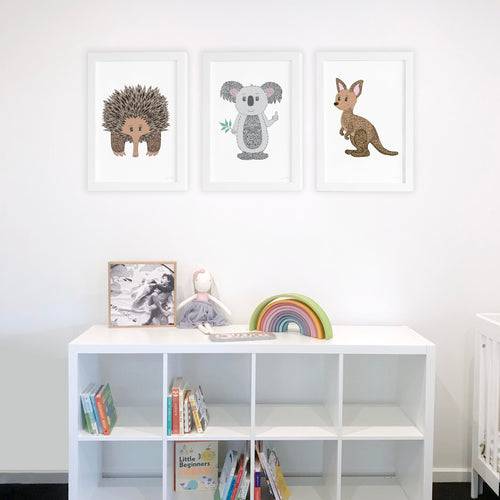 Australian Animals in Colour Nursery or Bedroom Collection