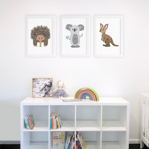 Australia animals for nursery or kids bedroom decor Illustrated by Hayley Lauren Design