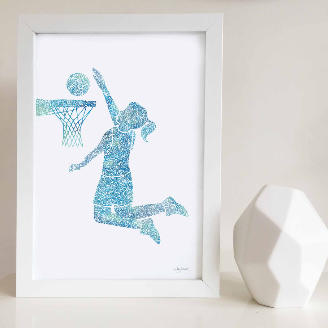 basketball girl wall art print by Hayley Lauren Design