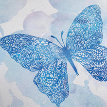 Blue Butterfly Zentangle Water colour artwork for little girls room by Hayley Lauren Design in Australia