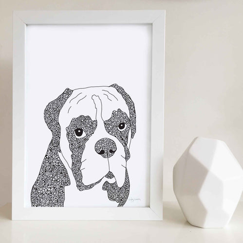 Boxer Dog Art Print Zentangle