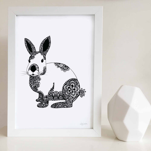 bunny art print for nursery or kids bedroom