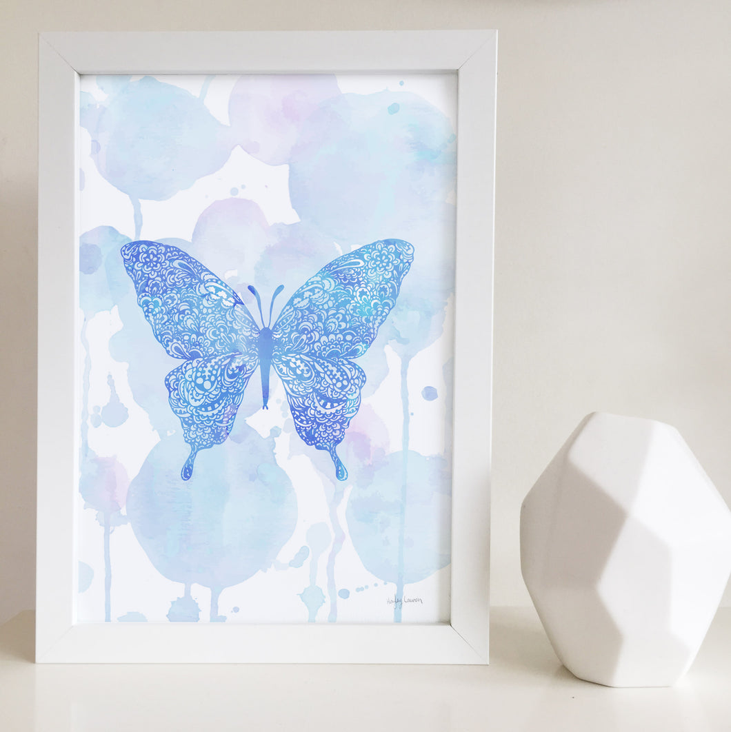 Butterfly artwork blue watercolour zentangle for little girls room art print by Hayley Lauren Design Australia