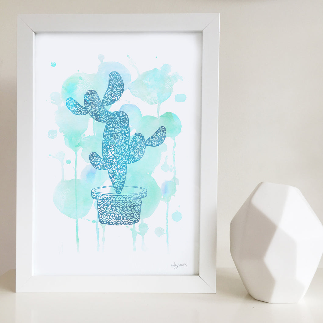 Cactus green watercolour artwork for nursery or kids bedroom