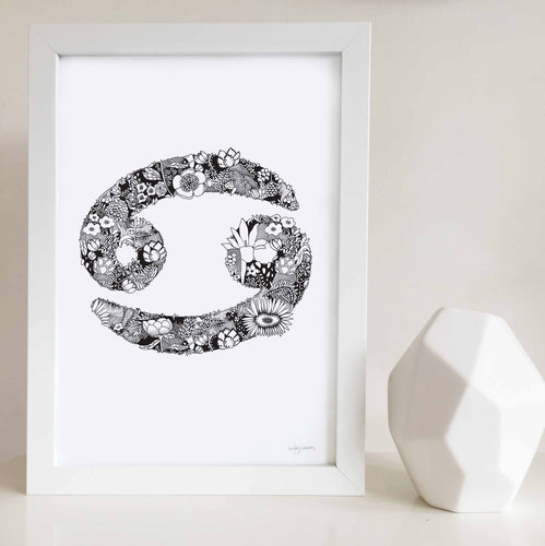 Cancer star sign art print with flowers by Hayley Lauren design