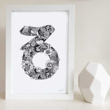 Capricorn star sign art print made with flowers by Hayley Lauren Design