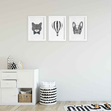 cat hot air balloon french bulldog cute zentangle black and white art print illustrations for baby room, toddler, kids bedroom shared unisex playroom by hayley lauren design free shipping australia wide
