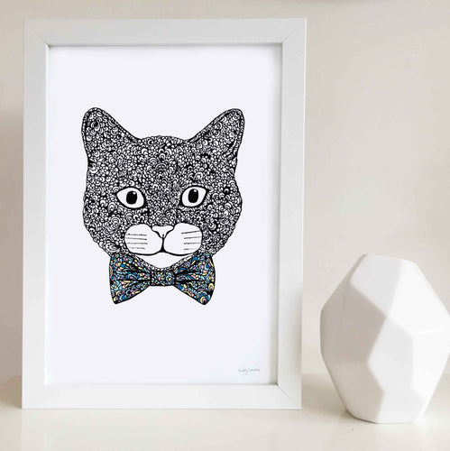 cute cat with bowtie zentangle black and white art print illustrations for baby room, toddler, kids bedroom shared unisex playroom by hayley lauren design free shipping australia wide