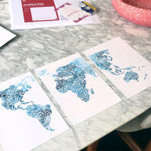 world map triptych in blue designed for the avid traveller free shipping australia wide. The perfect give to give someone that loves to travel designed by Hayley Lauren in Melbourne, Australia.
