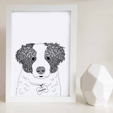 Border collie artwork personalised with your dogs name designed by Hayley Lauren Design in Melbourne, Australia