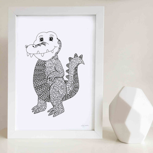 cute crocodile nursery room print or kids bedroom artwork