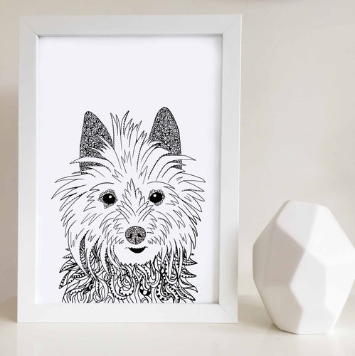 Australian terrier dog art print illustrated by Hayley Lauren Design