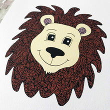 cute coloured lion nursery zentangle art prints for baby room, toddler, kids room, shared playroom by Hayley Lauren Design