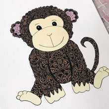 cute coloured monkey nursery zentangle art prints for baby room, toddler, kids room, shared playroom by Hayley Lauren Design