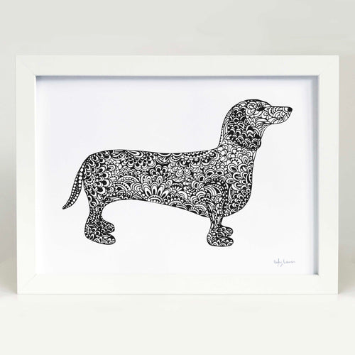 dachshund dog art print sausage dog