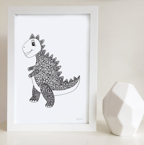 dinosaur nursery artwork by Hayley Lauren Design