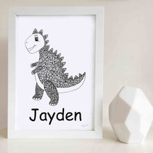 dinosaur art print for nursery or kids bedroom custom name