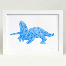 blue dinosaur illustration for baby room or kids bedroom