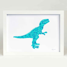 green dinosaur illustration for kids bedroom
