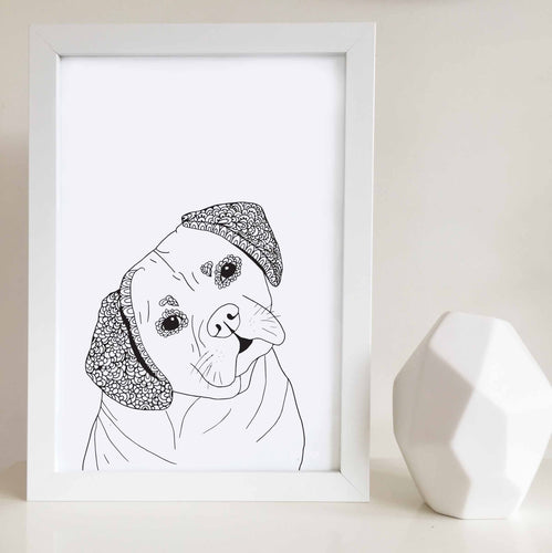 puggle dog art print zentangle