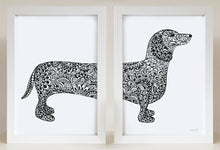 dachshund wall art print for sausage dog lovers by Hayley Lauren Design