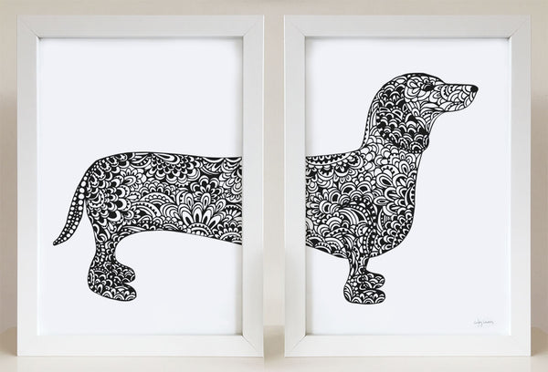 dachshund print for dog lovers by Hayley Lauren Design