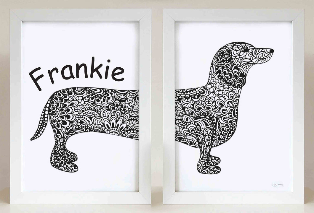 double dachshund - sausage dog wall art print