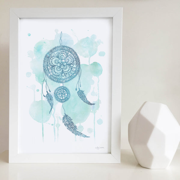 Blue dreamcatcher Zentangle Water colour artwork for little girls room Australia