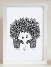 nursery or bedroom wall art of a happy echidna by hayley lauren design