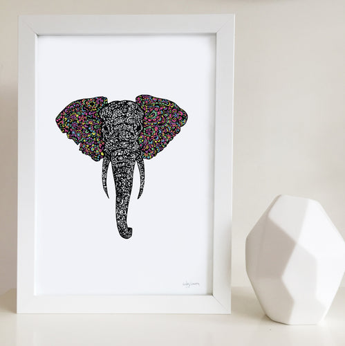 elephant zentangle artwork illustrated by hayley lauren design free shipping australia wide black and white with rainbow ears