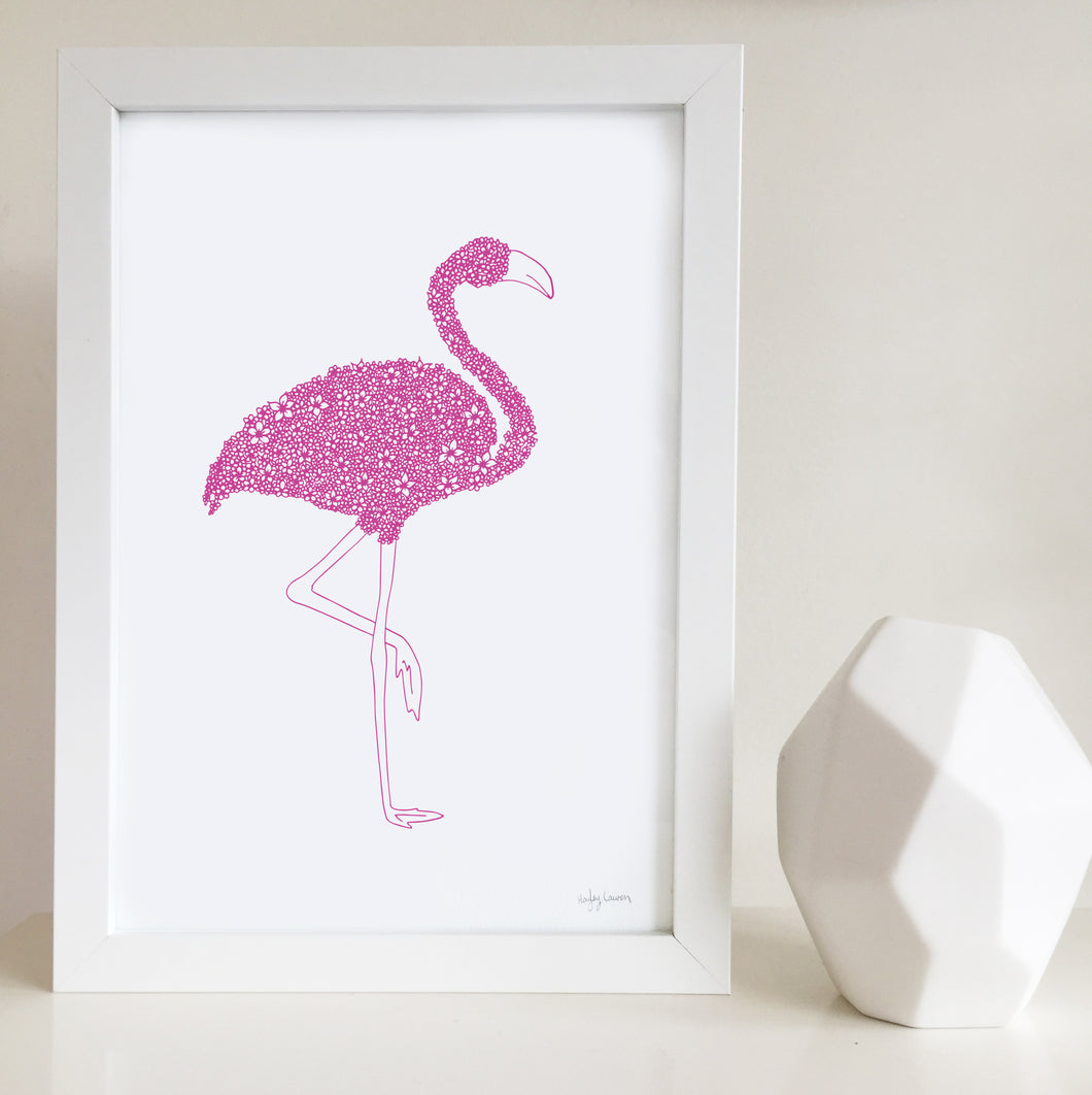 Pink Flamingo nursery or bedroom wall art